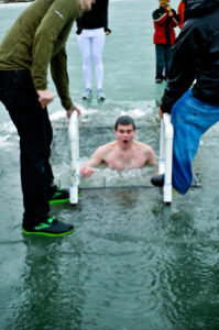 guy plunging into the ice